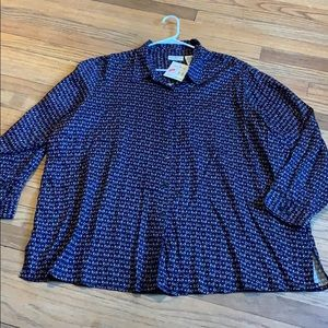 White stag womens size 26/28w button down top !new